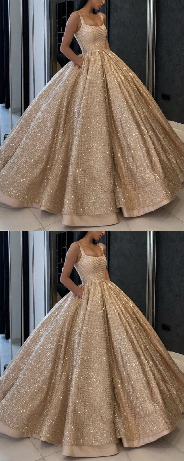 bling bling gold sequins satin ball gown wedding dresses