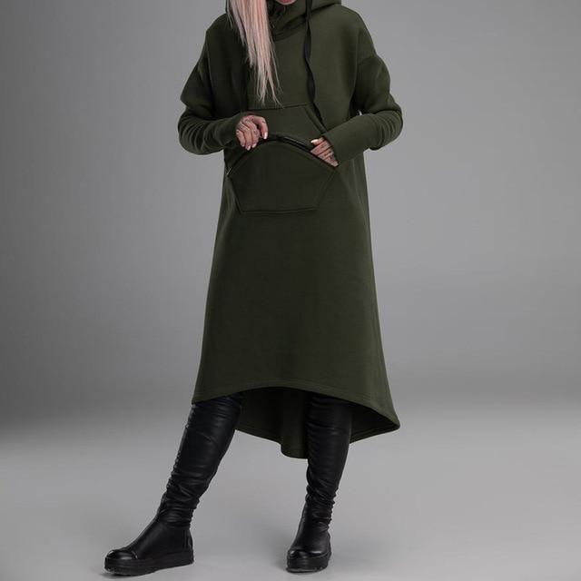 2019 ZANZEA Autumn Coat Women Hooded Hoodies Dress Female Long Sleeve Casual Sweatshirt Lady Zipper Buckle Long Shirt Oversized