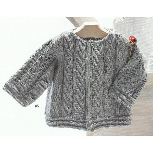 Modèle à tricoter gratuit Cardigan Bébé Laine Katia Coton Mississippi 3 8ff0d64978c