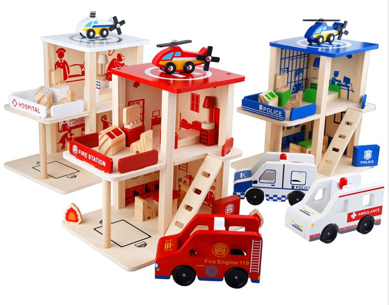 Wooden Children S Gift Playsets Police