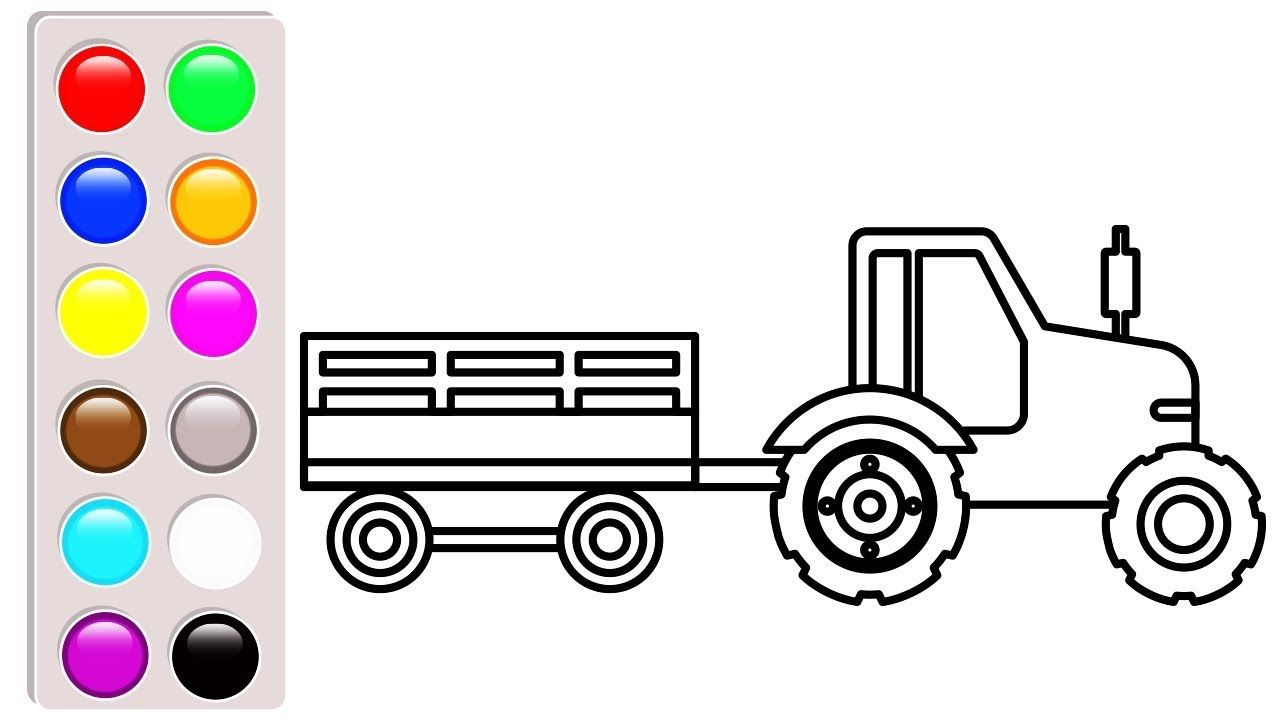 Car and truck coloring pages for children, Tractor coloring book ...