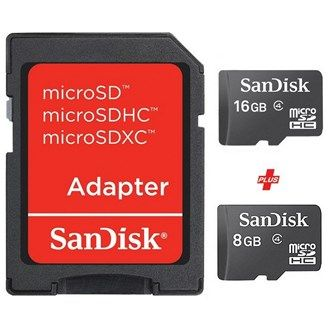 Buy online Sandisk Micro SD Card 16GB + Micro SD Card 8GB #External Storage device @ luluwebstore.com for AED20.00