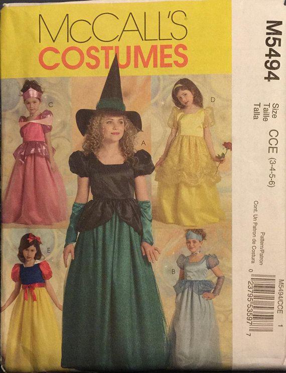 OOP 5494 McCalls (2007). Girl\'s princess & witch Halloween costumes ...