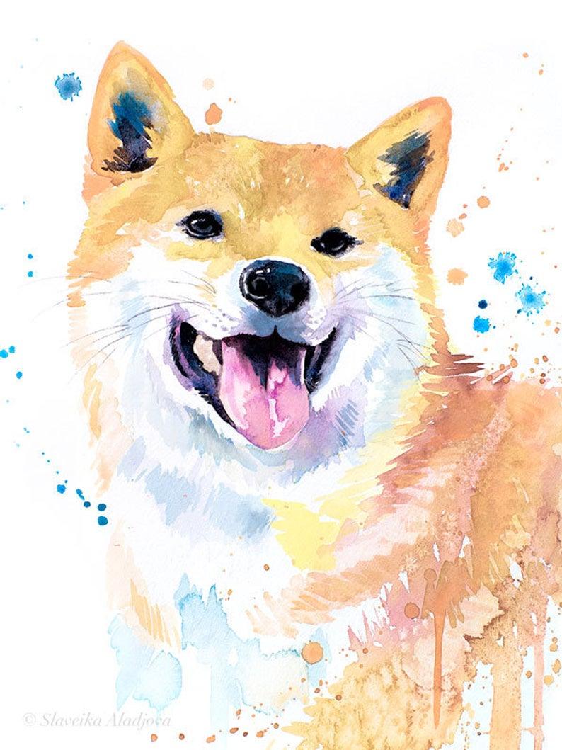 Cream Shiba Inu Watercolor Painting Print By Slaveika Etsy In 2021 Dog Art Dog Print Art Watercolor Dog