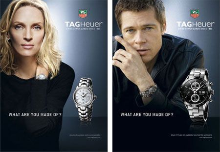Umu Therman and Brad Pitt for a TAG Heuer Watches ad | ADS ...