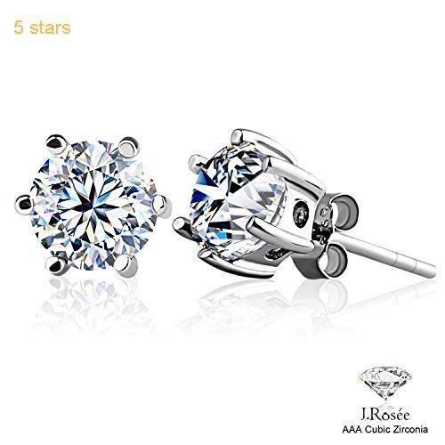 ead1b49d0 J.Rosee Earrings Studs 925 Sterling Silver 3A Round Cut Cubic Zirconia for  Women 6 MM