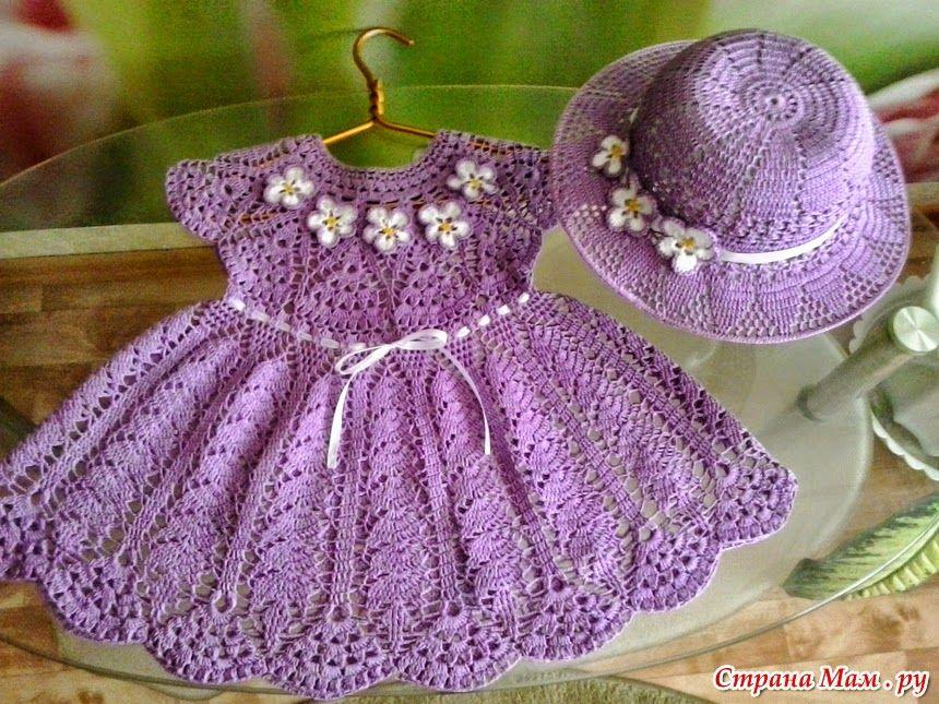 Crochet y dos agujas: Encantador conjunto de vestido y sombrero para ...
