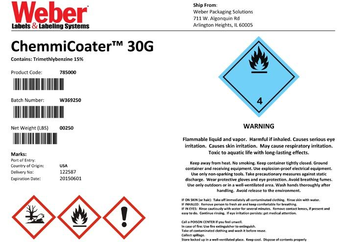 Here S An Example Of A Ghs Label It Was Created In Word And Printed With The Epson Colorworks Inkjet Label Printer Weber Packaging Solutions