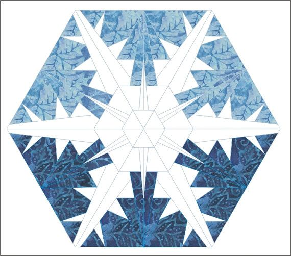 Snowflake 3 paper pieced quilt hexagon pattern winter Christmas ...