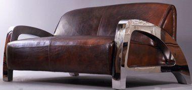 Design Clubsofa Memphis 2 Sitzer Vintage Leder Chrom Club Sofa Vintage Sofa Sofa