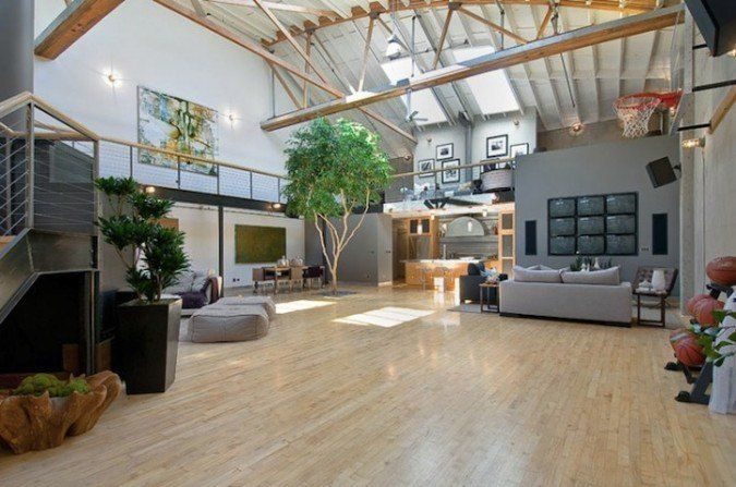 20 Of The Most Amazing Home Basketball Courts In 2020 Home Basketball Court Luxury Loft Loft Decor