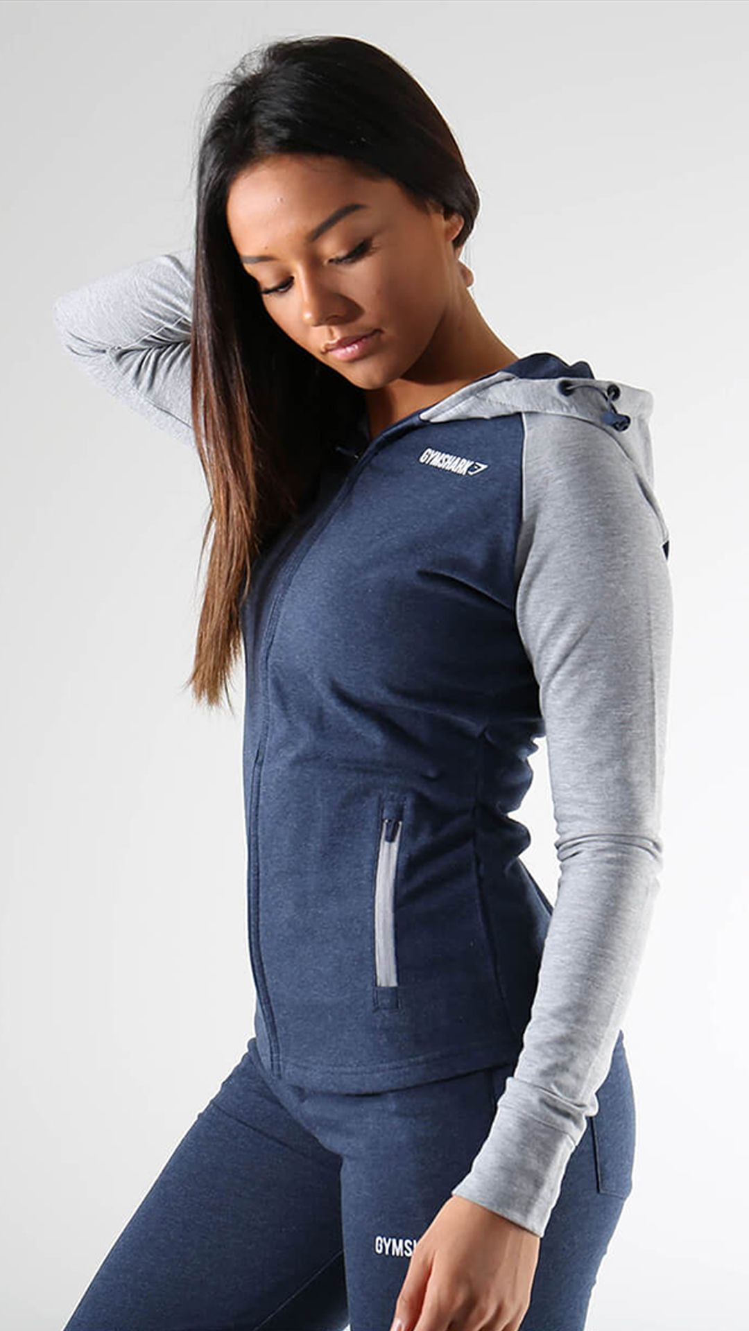 5b43b22a0 Gymshark True Texture Hooded Bomber Jacket - Steel Blue   Gym ...