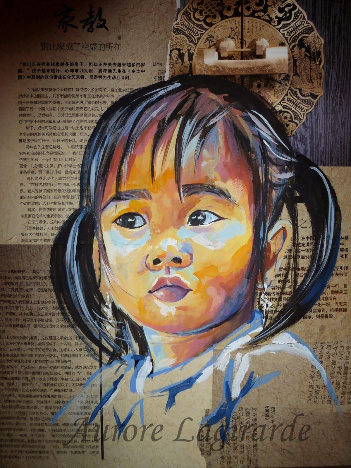 Portrait de voyage en chine petite fille peinture sur journal portrait voyage peinture - Peinture sur visage ...