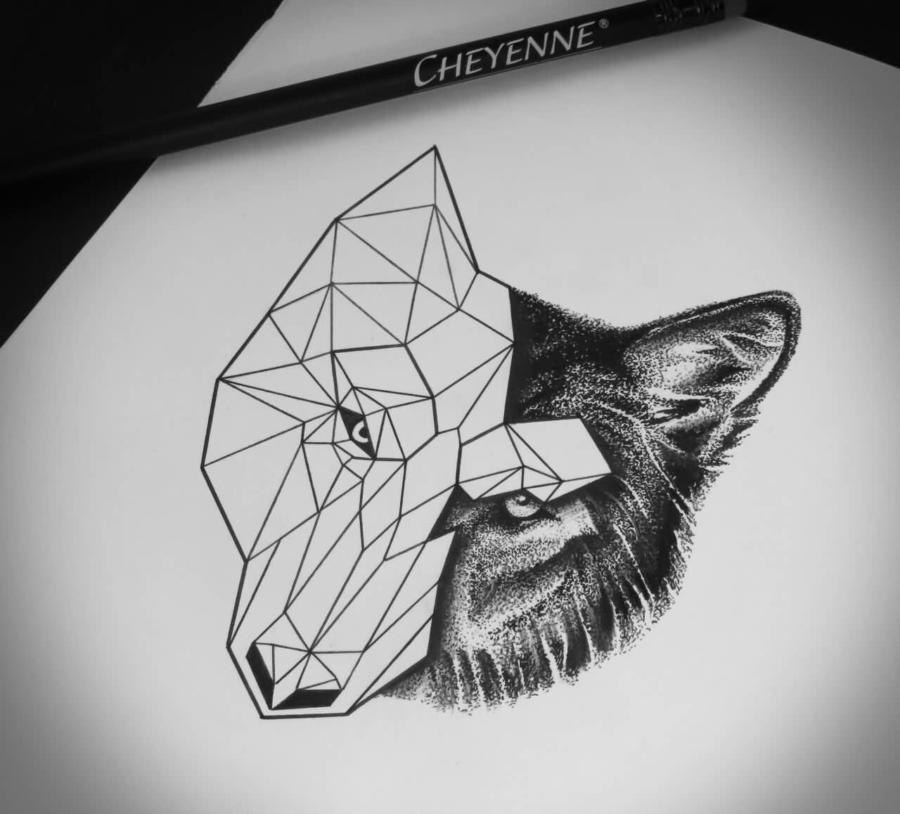 Half Geometric Half Realistic Wolf Tattoo Geometric Tattoo Geometric Wolf Tattoo Geometric Tattoo Design