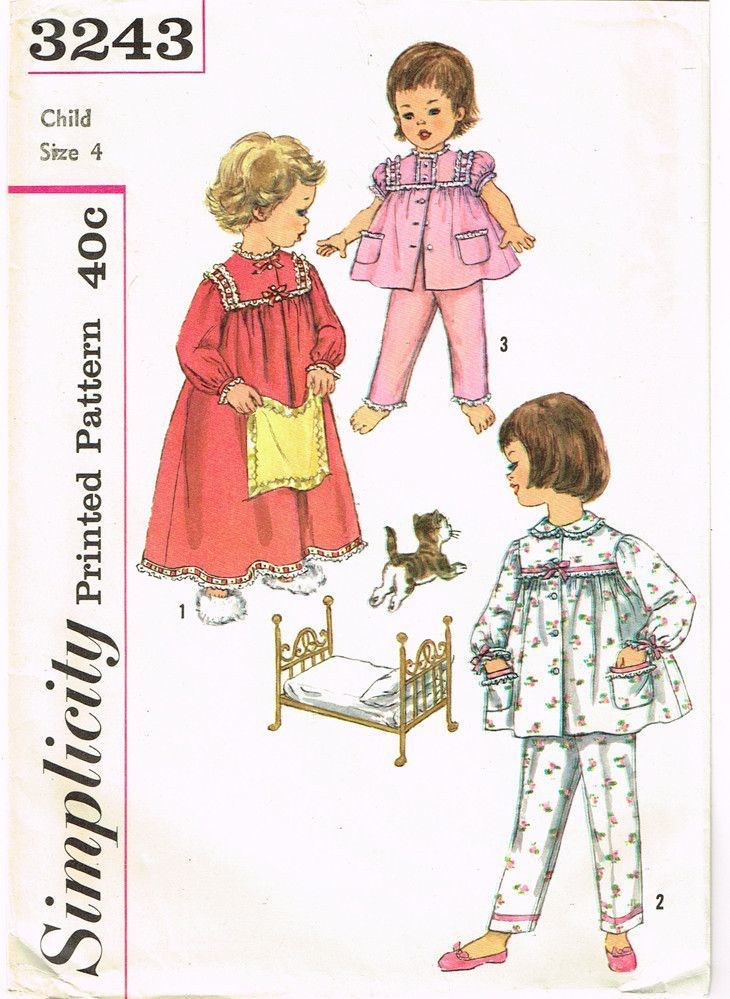 Simplicity Pattern 3243 Toddler Girl s Nightgown Pattern Makes 2 Piece  Pajamas Too Dated 1959 Complete Nice b6e45580b