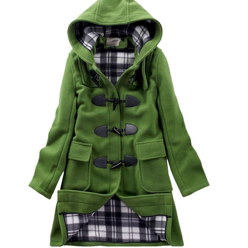Green hooded wool toggle coat. | Wearing stuff. | Pinterest