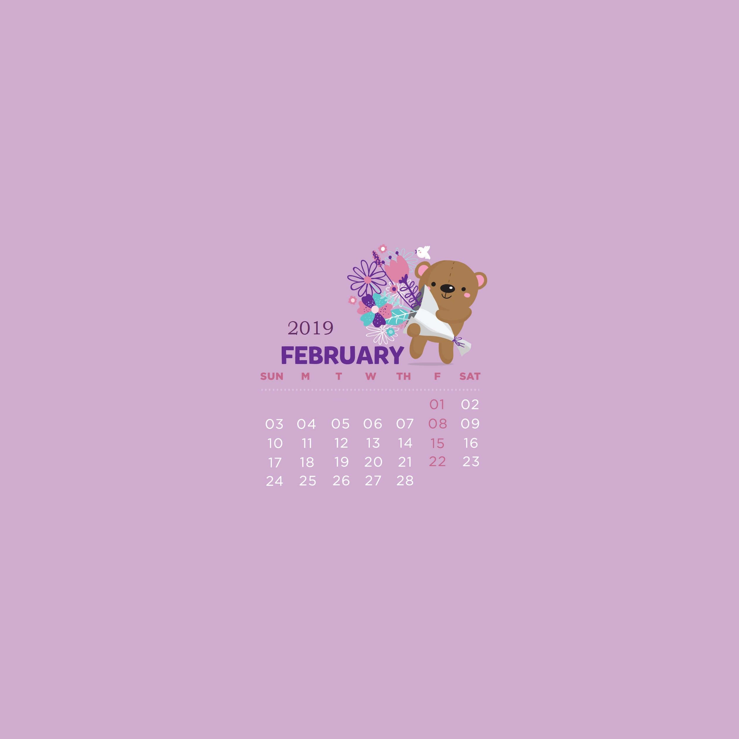 Beautiful February 2019 Calendar Beautiful February 2019 Calendar Wallpaper #February2019