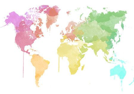 Watercolor worldmap in beautiful colors home decor instant watercolor worldmap in beautiful colors home decor instant download pink red yellow green blue painting sciox Image collections