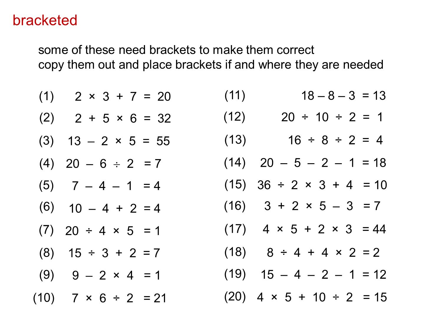 hight resolution of MEDIAN Don Steward secondary maths teaching: bidmas   Mathematics worksheets