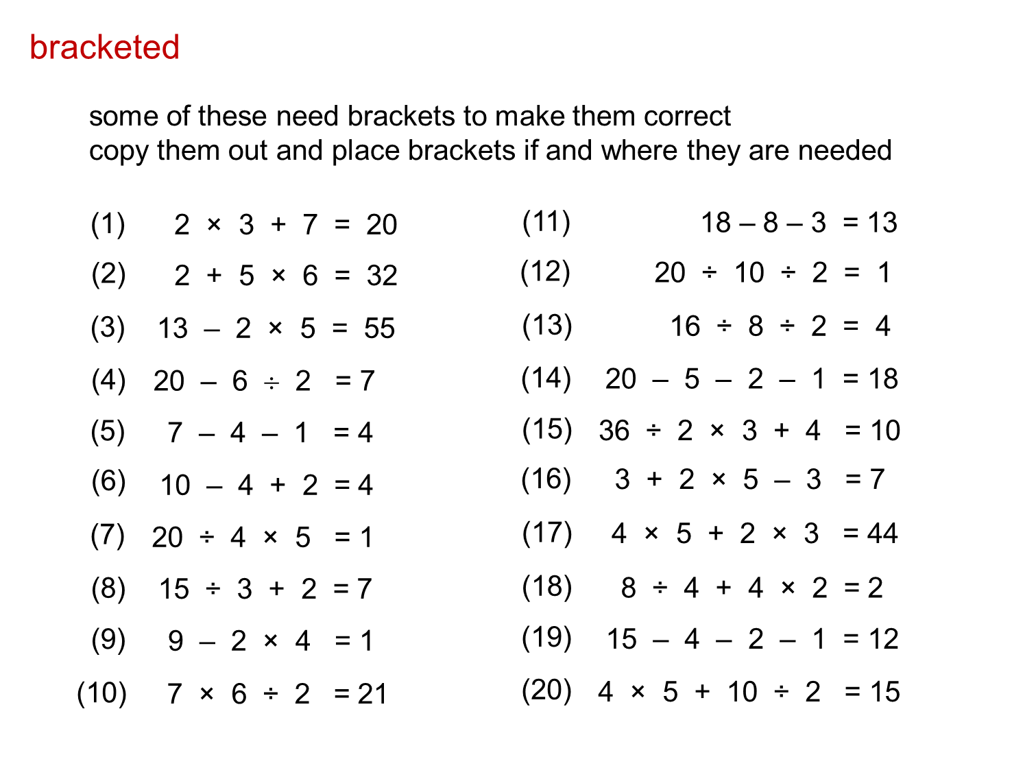 small resolution of MEDIAN Don Steward secondary maths teaching: bidmas   Mathematics worksheets