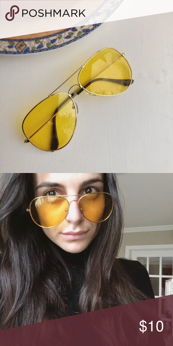 01dfc977f3783 Yellow Lens Aviators Vintage glasses • unisex • gravity shades • pilot  glasses • gold frame • yellow lens aviator sunglasses • brand new  ) )  Accessories ...