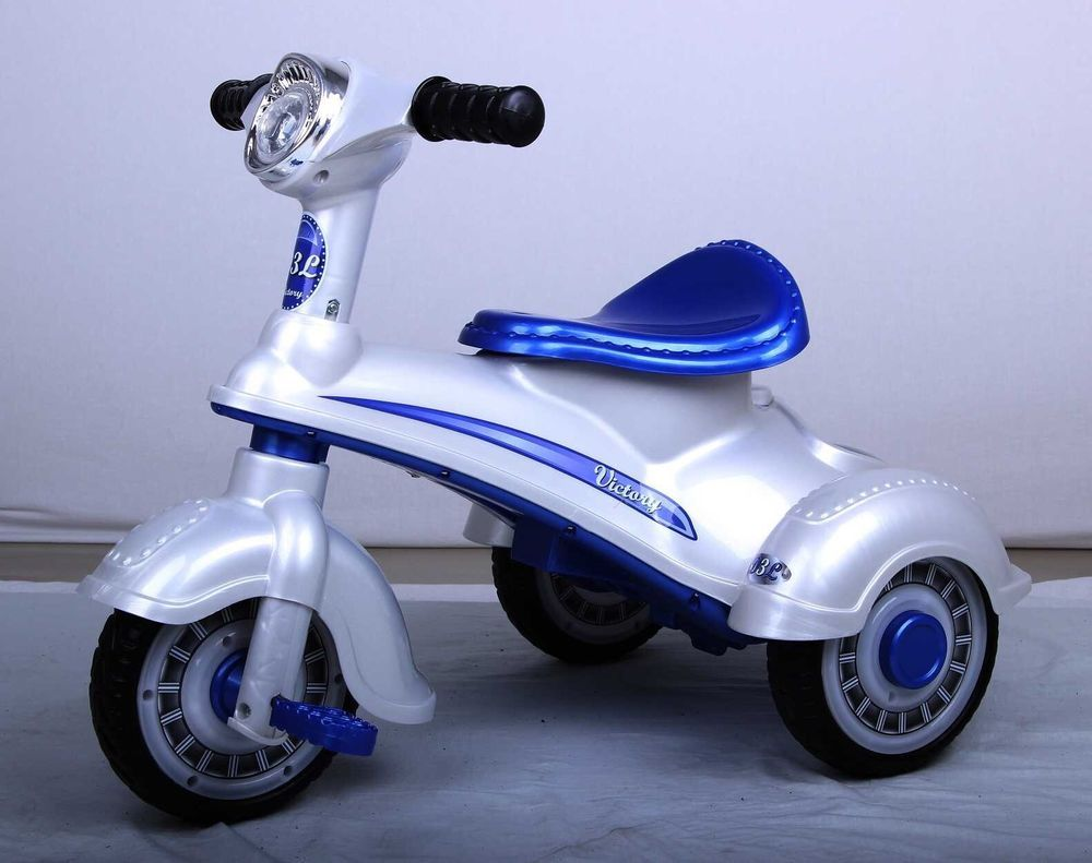 Retro Ride On Toy For Baby Mini Tri Cycle Bike Scooter Electric 6v Tow Harness Blue Silver Bestrideoncars