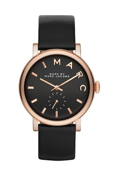 Marc Jacobs Baker Leather Strap Watch 37mm Nordstrom Exclusive Nordstrom Stylish Watches Marc Jacobs Jewelry Watches Jewelry