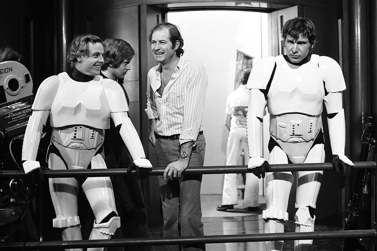 Mark Hamill and Harrison Ford in Stormtrooper gear between filming on the Death Star set.