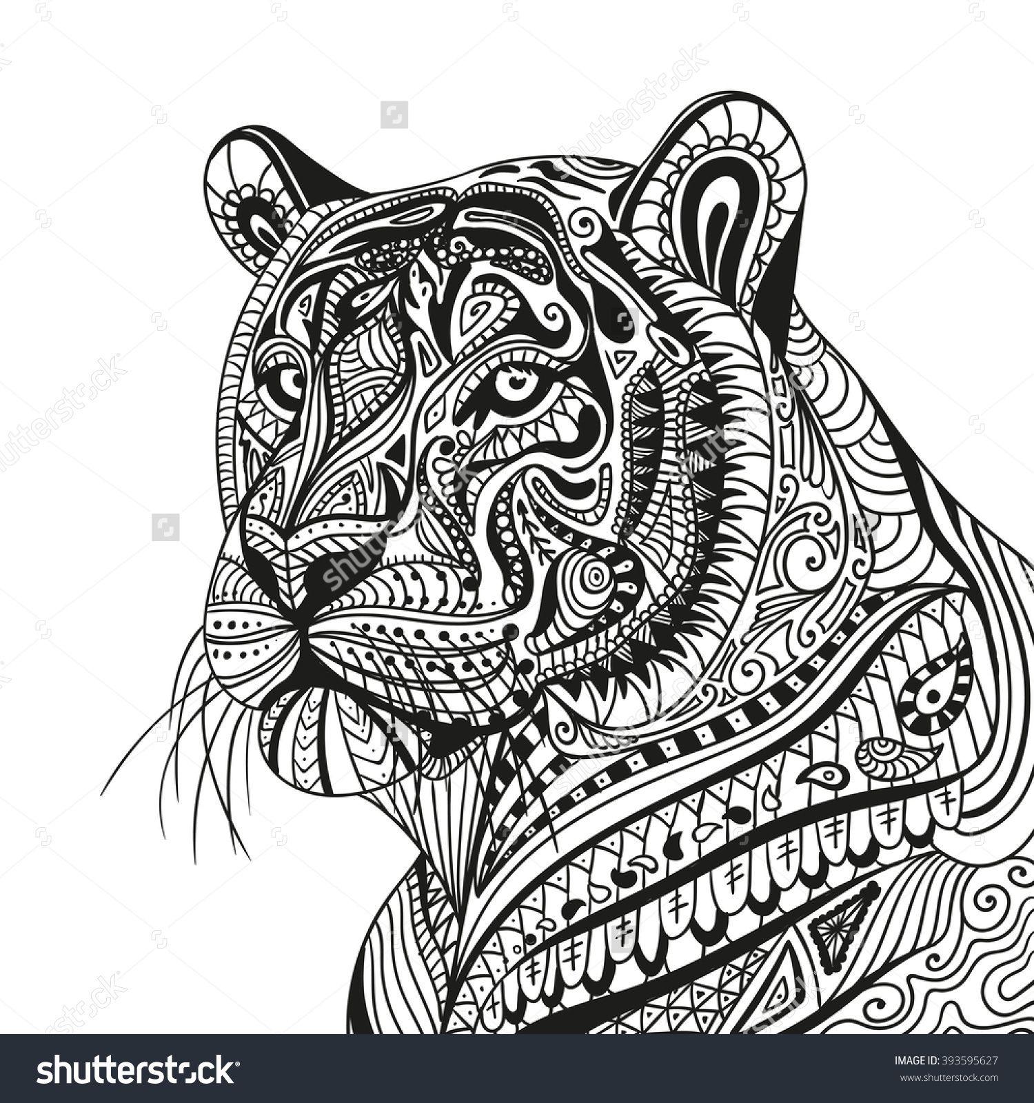 Vector Illustration Of An Abstract Ornamental Tiger In 2020 Mandala Coloring Animal Wall Decals Mandala Coloring Pages