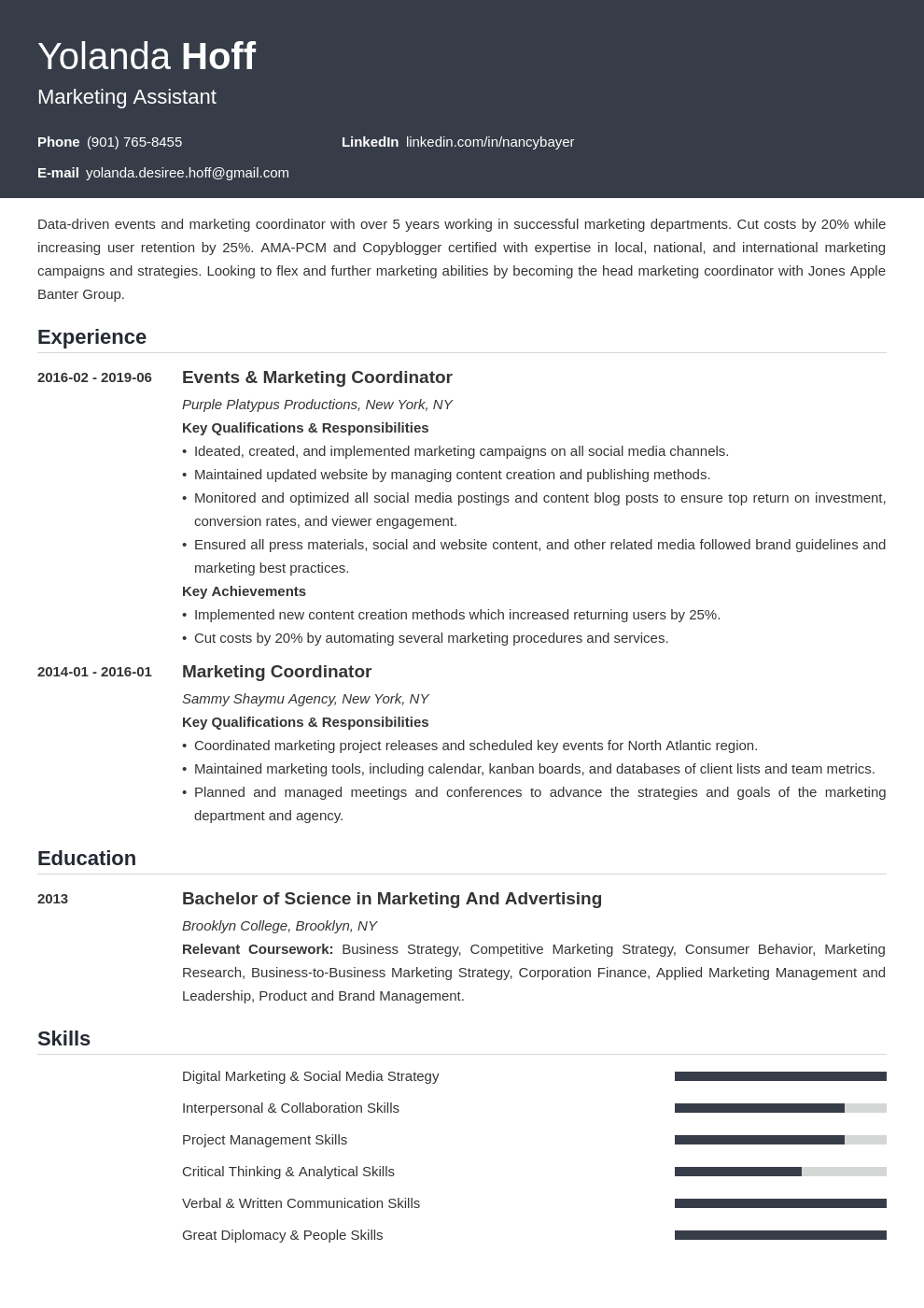marketing coordinator resume example template influx in