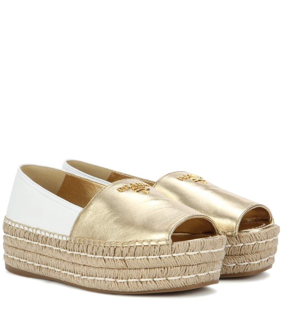 Prada Two-tone Leather Peep Toe