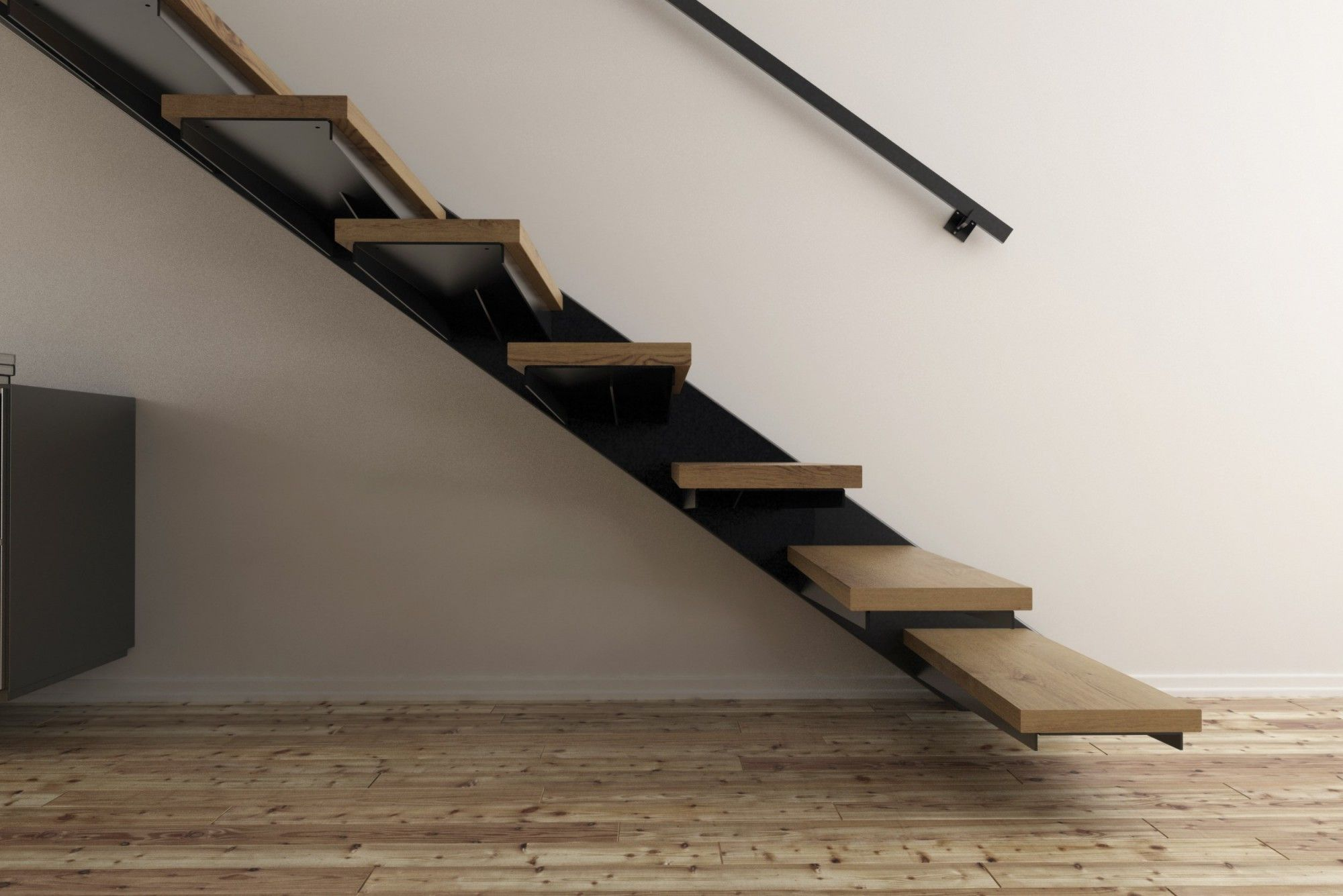 escalier suspendu m tal et bois d coint rieure diy escalierenkit escalier stairkaze. Black Bedroom Furniture Sets. Home Design Ideas