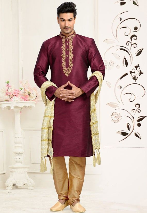 ecb4ce41 Burgundy Men's Kurta Pyjama Mens Indian Wear, Mens Ethnic Wear, Indian  Wedding Wear,