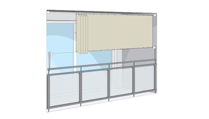 Seilspann-Markise für Balkon - waagerecht Fensterdekorationen - markisen fur balkon design ideen