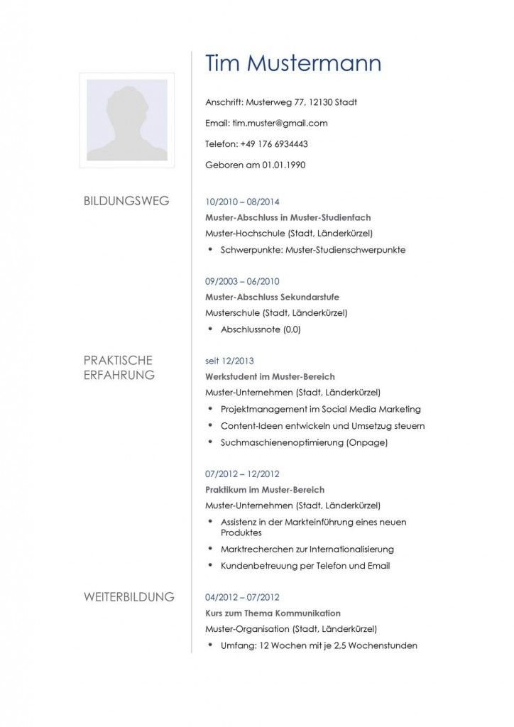 Tabellarischer Lebenslauf, Beispiel | Muster Für Die Bewerbung