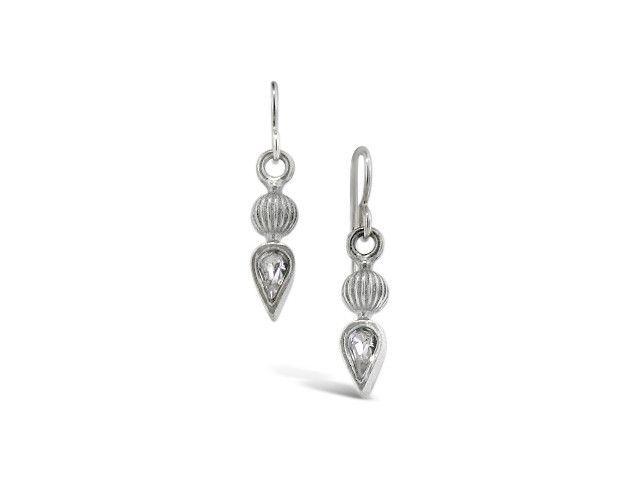Silver Finial Crystal Earrings