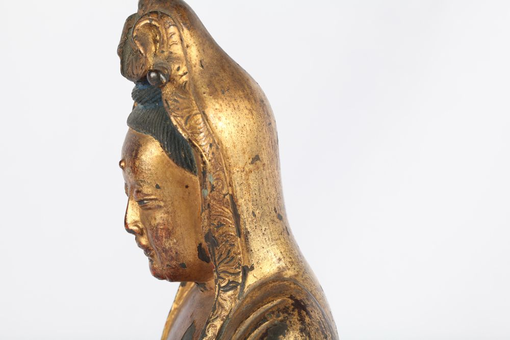 Chinese Gilt Bronze Figure of Guanyin and Child