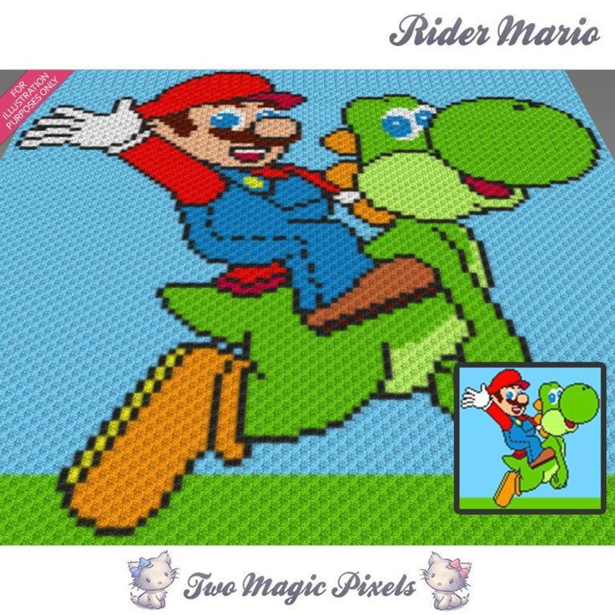 Rider Mario C2C Crochet Graph | Manta, Colchas y Bebe