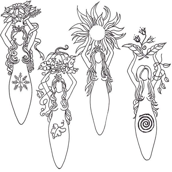 goddess for each of the seasons  coloriage livres des