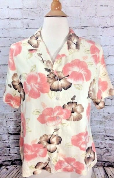 7c6054ee Tommy Bahama Womens L 12/14 Pink Hibiscus 100% Silk Shirt Floral Button Down