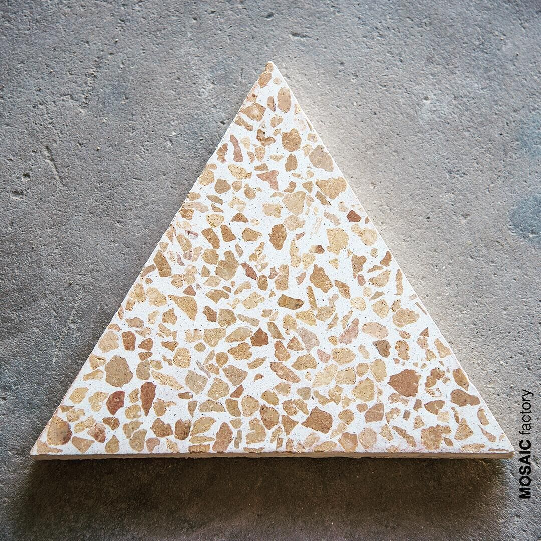 Triangular Terrazzo Tile With White Background And Yellow