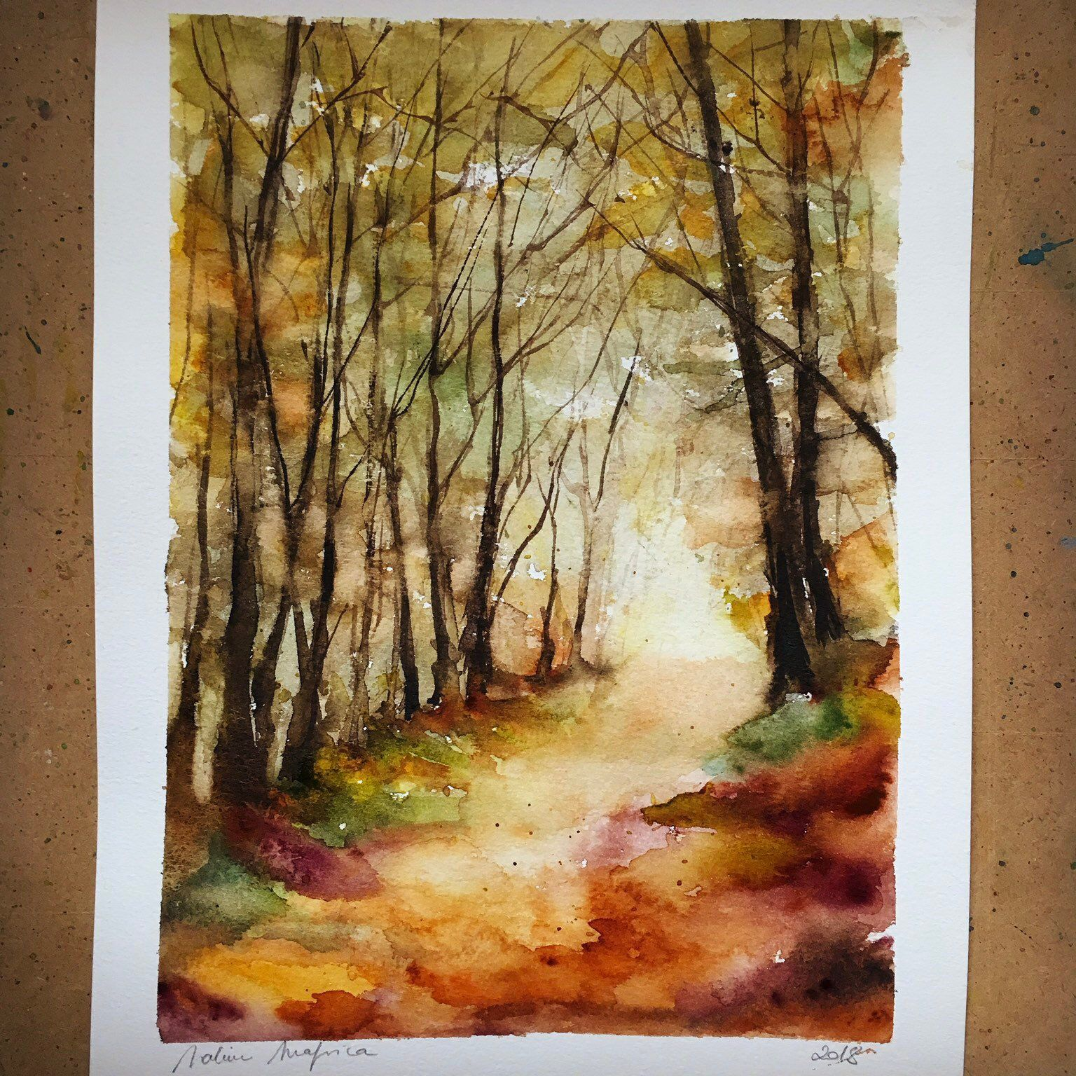 Aquarelle Peinture Originale Foret En Automne Woodland Fall