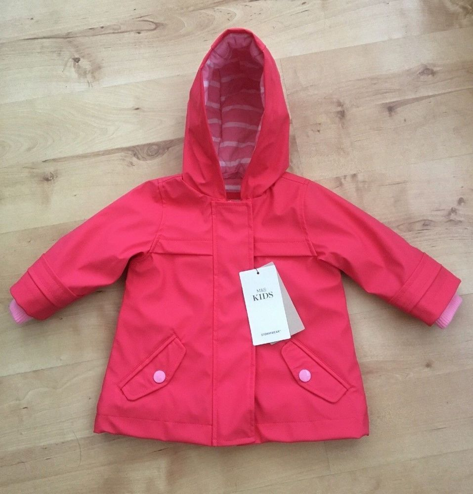 46c241abe93e Baby Girls M S Stormwear Fishermans Coat Jacket Age 3-6 months. Pink ...