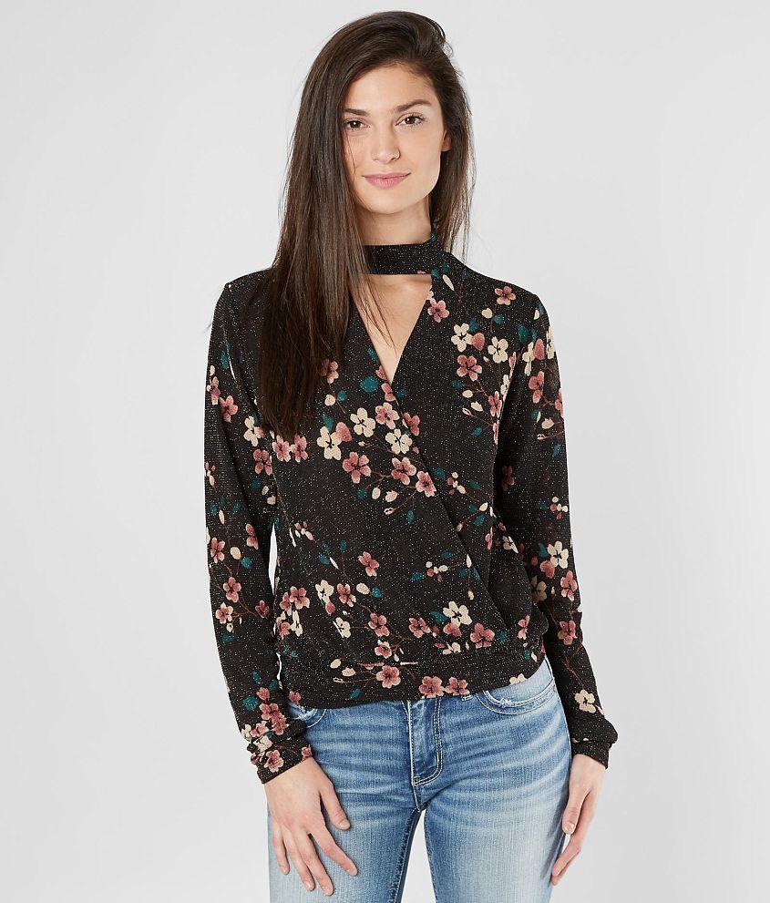 e509409fcda9f5 BKE Boutique Metallic Surplice Top - Women's Shirts/Blouses in Black Multi  | Buckle Large