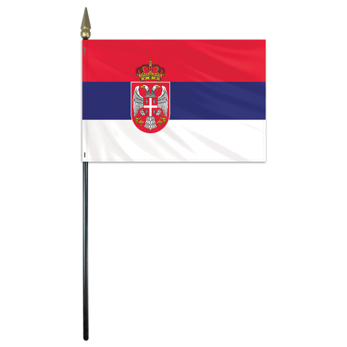 Serbia Stick Flag With Seal Serbian Flag Flag Serbia