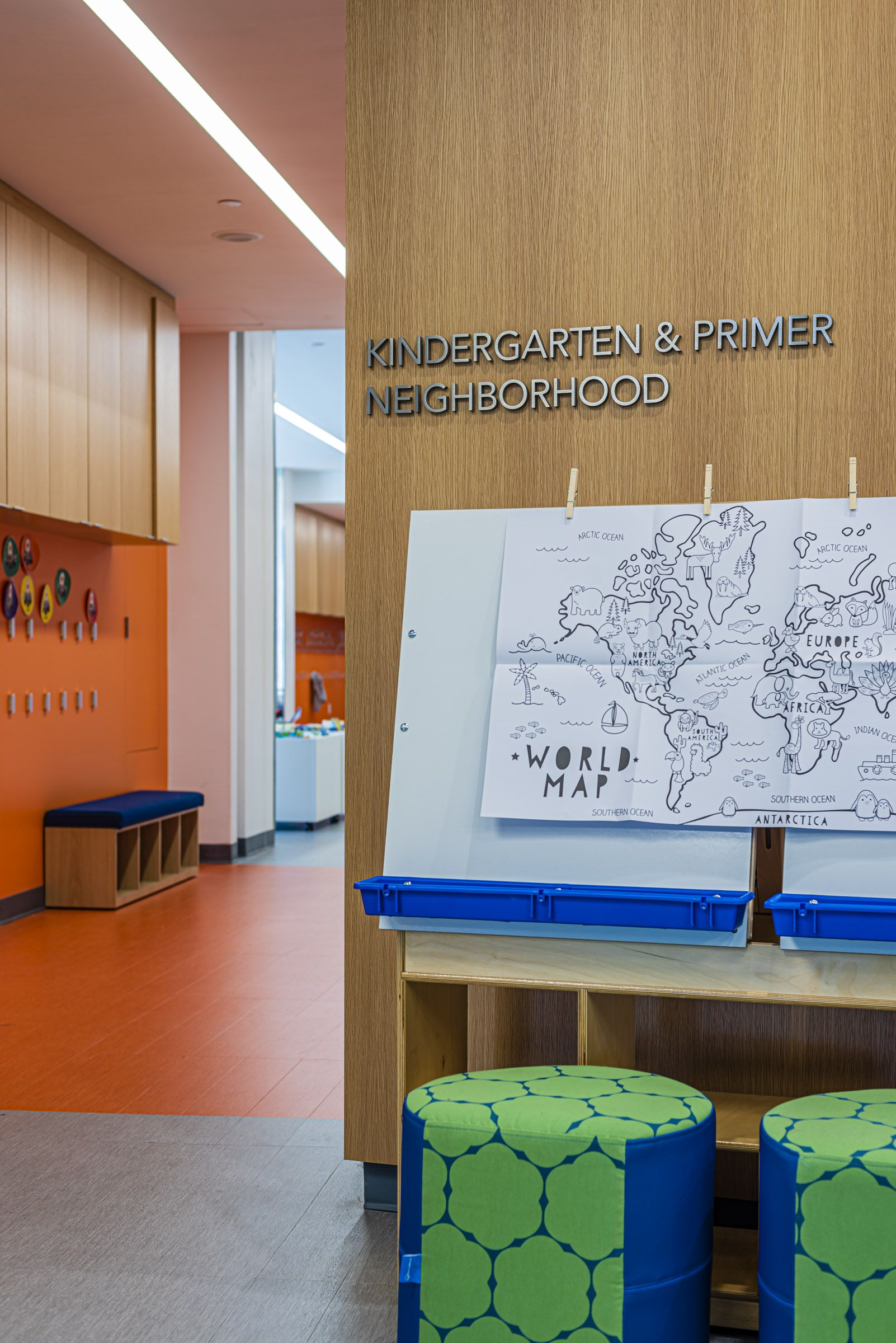 A Bold And Playful Graphics System For A Children S School In Dallas Wayfinding Design Environmental Graphic Design Education Design