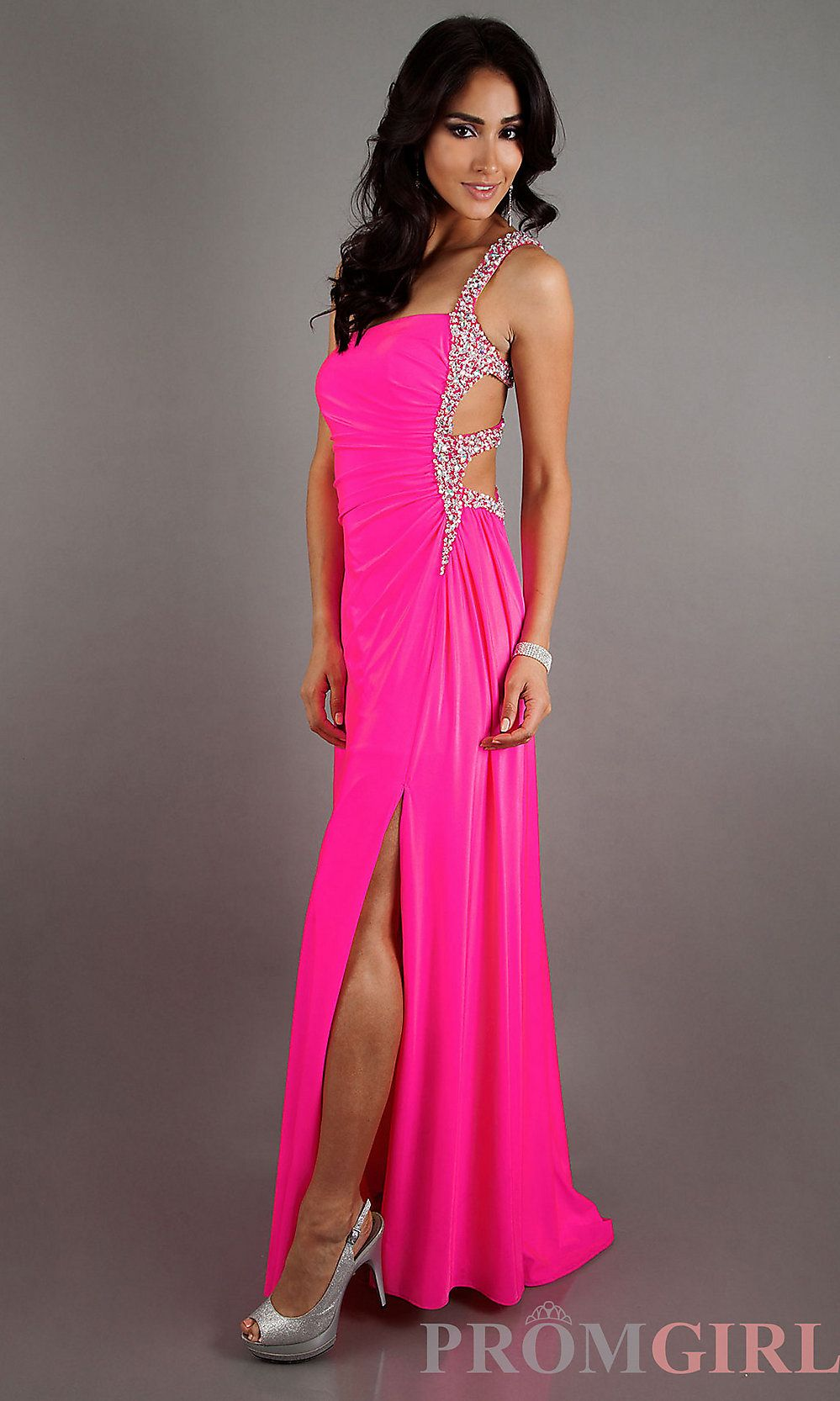 One Shoulder Long Dress with Side Cut Out   Sexy, Neon and Gowns
