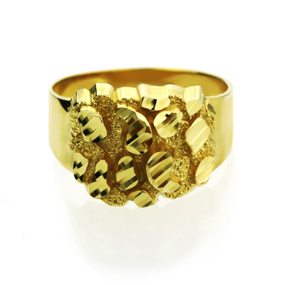Double Accent | 14K Yellow Gold 12mm Solid Nugget Ring for Women (Size 5 to 9)