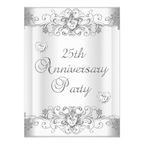 Th Anniversary Silver White Diamond Hearts Card  Heart Cards