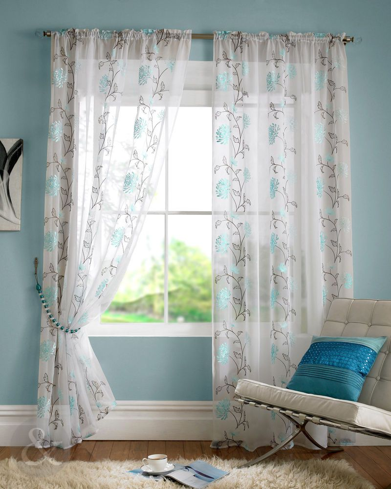 Blossom Voile Panel Teal Blue White Embroidered Slot Top Voile Net Curtain Light Blue Living Room Blue Living Room Blue Curtains Living Room